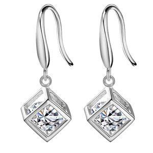 Shiny Rhinestone Cube Dangle Earrings